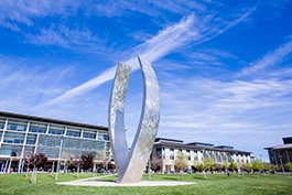 UC Merced campus showcasing Beginnings sculpture