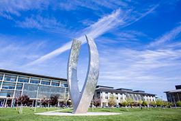 UC Merced campus showcasing Beginnings sculpture