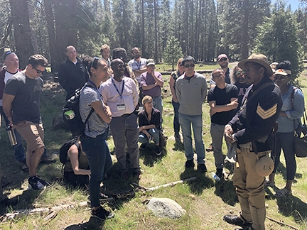 Park Ranger Shelton Johnson delivers field lecture in Yosemite on innovative interpretive techniques around the Buffalo Soldiers of the Ninth Cavalry